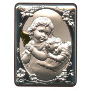 """Guardian Angel Silver Laminated Plaque cm.5x6.5 - 2""""x2 1/2"""""""