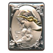 """Mother and Child Silver Laminated Plaque cm.5x6.5 - 2""""x2 1/2"""""""