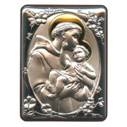 """St.Anthony Silver Laminated Plaque cm.5x6.5 - 2""""x2 1/2"""""""