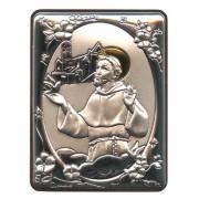 "St.Francis Silver Laminated Plaque cm.5x6.5 - 2""x2 1/2"""