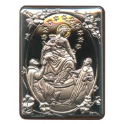 """Our Lady of Pompei Silver Laminated Plaque cm.5x6.5 - 2""""x2 1/2"""""""