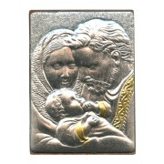 "Holy Family Pewter Picture cm. 5.5x4.2- 2 1/8""x 1 1/2"""
