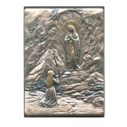 "Lourdes and St.Bernadette Pewter Picture cm. 5.5x4.2- 2 1/8""x 1 1/2"""