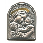 "Mother and Child Pewter Picture cm. 5.5x4.2- 2 1/8""x 1 1/2"""