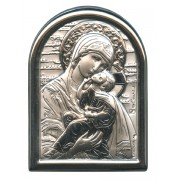 "Perpetual Help Plaque with Stand Mother of Pearl Frame cm.6x4.5 - 2 1/4""x 1 3/4"""