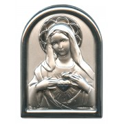 "Immaculate Heart of Mary Plaque with Stand Mother of Pearl Frame cm.6x4.5 - 2 1/4""x 1 3/4"""