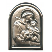 "St.Anthony Plaque with Stand Brown Frame cm.6x4.5 - 2 1/4""x 1 3/4"""