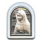 "Our Lady of Sorrows Plaque with Stand White Frame cm. 6x7- 2 1/4""x2 3/4"""