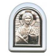 "Pantocrator Plaque with Stand White Frame cm. 6x7- 2 1/4""x2 3/4"""