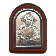 "Sacred Heart of Jesus Plaque with Stand Brown Frame cm. 6x7- 2 1/4""x2 3/4"""