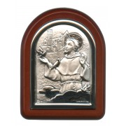 "St.Francis with Guardian Angel Plaque with Stand Brown Frame cm. 6x7- 2 1/4""x2 3/4"""