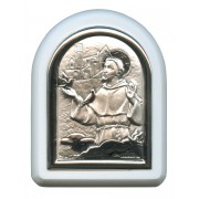 "St.Francis with Guardian Angel Plaque with Stand White Frame cm. 6x7- 2 1/4""x2 3/4"""