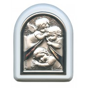"Guardian Angel Plaque with Stand White Frame cm. 6x7- 2 1/4""x2 3/4"""