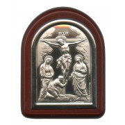 "Crucifixion Plaque with Stand Brown Frame cm. 6x7- 2 1/4""x2 3/4"""