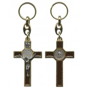 St.Benedict Gold with Brown Enamel Crucifix Keychain cm5.5- 2""