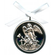 "Crib Medal Guardian Angel Bridge Mother of Pearl Silver Laminated cm.5.5-2"""