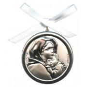 "Crib Medal Ferruzzi Mother of Pearl Silver Laminated cm.5.5-2"""