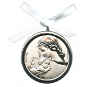 Crib Medal Mother and Child Mother of Pearl Silver Laminated cm.5.5-2""