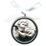 Crib Medal Guardian Angel Mother of Pearl Silver Laminated cm.5.5-2""