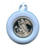 Crib Medal Guardian Angel Bridge Blue cm.8.5- 3 1/4""
