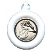 Crib Medal Mother and Child White cm.8.5- 3 1/4""