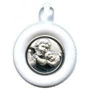 "Crib Medal Guardian Angel White cm.8.5- 3 1/4"""