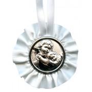 "Crib Medal Guardian Angel White cm.9.5- 3 3/4"""
