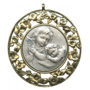 Guardian Angel Sterling Silver Medal on Pewter Silver Plated cm.8