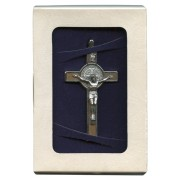 """St.Benedict Wood Crucifix Set with Book and Cord cm.8- 3"""" Boxed"""