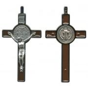 """St.Benedict Crucifix Enamelled Rhodium Finish cm.8 - 3"""""""
