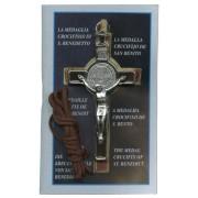 "St.Benedict Crucifix Economic Set with Book and Cord cm.8- 3"" Plastic Bag"