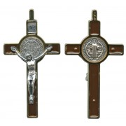 """St.Benedict Crucifix Enamelled Gold Plated cm.8 - 3"""""""