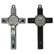 """St.Benedict Metal Crucifix Rhodium Finish White cm.8- 3"""""""