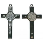 """St.Benedict Metal Crucifix Rhodium Finish Black cm.8- 3"""""""