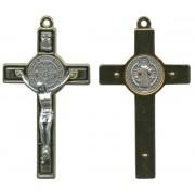 "St.Benedict Metal Crucifix Gold Plated Black cm.8-3"""