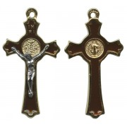 """St.Benedict Crucifix Enamelled Gold Plated cm.5 - 2"""""""