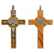 """St.Benedict Olive Wood Crucifix mm.40 - 1 1/2"""""""