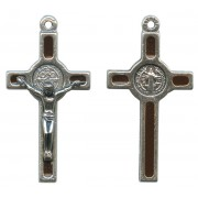 "St.Benedict Mignon Metal Crucifix Brown Silver Plated cm.2.5- 1"""