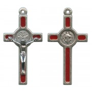 """St.Benedict Mignon Metal Crucifix Red Silver Plated cm.2.5- 1"""""""