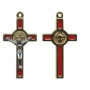 "St.Benedict Mignon Metal Crucifix Red Gold Plated cm.2.5- 1"""
