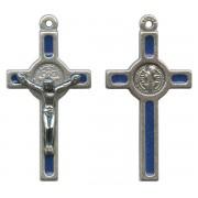 "St.Benedict Mignon Metal Crucifix Blue Silver Plated cm.2.5- 1"""