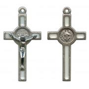 "St.Benedict Mignon Metal Crucifix White Silver Plated cm.2.5- 1"""