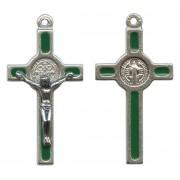 "St.Benedict Mignon Metal Crucifix Green Silver Plated cm.2.5- 1"""