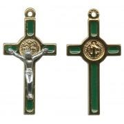 "St.Benedict Mignon Metal Crucifix Green Gold Plated cm.2.5- 1"""
