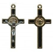 """St.Benedict Mignon Metal Crucifix Black Gold Plated cm.2.5- 1"""""""