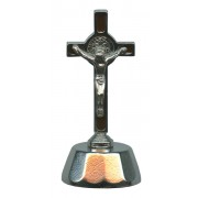 """St.Benedict Mignon Metal Crucifix with Base Silver Plated cm.9- 3 1/2"""""""