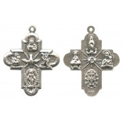 4 Ways Cross Silver Plated Metal mm.25- 1""