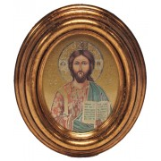"Pantocrator Gold Leaf Oval Picture cm.12.5x10.5- 5""x4 1/4"""
