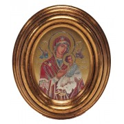 "Perpetual Help Gold Leaf Oval Picture cm.12.5x10.5- 5""x4 1/4"""