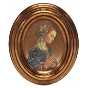 "Lippi Gold Leaf Oval Picture cm.12.5x10.5- 5""x4 1/4"""